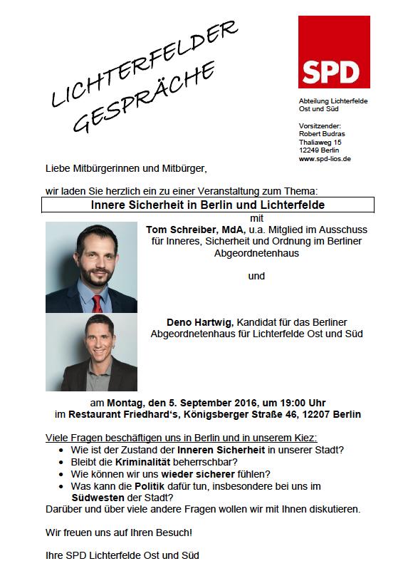 Innere Sicherheit in Berlin und Lichterfelde